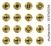 golden media player button set. ... | Shutterstock .eps vector #313765256