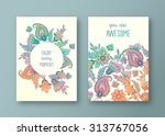 set of vector greeting card ... | Shutterstock .eps vector #313767056