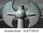 Small photo of Poleaxe, metal railing upper part, Peter and Paul Fortress, Saint Petersburg, Russia
