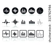 vector sound waves set. audio...