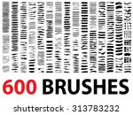 Vector very large collection or set of 600 artistic black paint hand made creative brush strokes isolated on white background, metaphor to art, grunge or grungy, graffiti, education or abstract design | Shutterstock vector #313783232