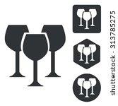 wine glass icon set  monochrome ...
