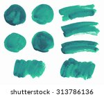set of blue watercolor stains... | Shutterstock .eps vector #313786136