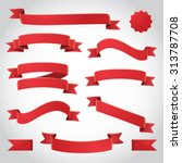 red vector ribbons set
