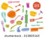 kitchen utensils color set ... | Shutterstock .eps vector #313805165