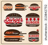 set of burger shop icon logo... | Shutterstock .eps vector #313842752