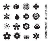 silhouette flower icons set | Shutterstock .eps vector #313846688