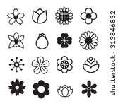 flower icons set | Shutterstock .eps vector #313846832