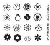 flower icons set | Shutterstock .eps vector #313846832