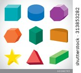 colorful set of geometric... | Shutterstock .eps vector #313853282