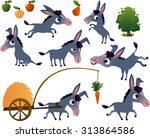 farm animals set  donkey