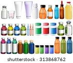 medicine in bottles and tubes... | Shutterstock .eps vector #313868762