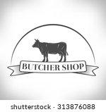 cow. butcher shop. | Shutterstock .eps vector #313876088