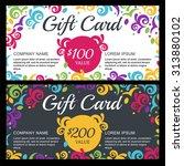 vector gift voucher or card...   Shutterstock .eps vector #313880102