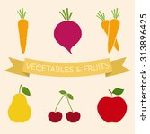 set of vegetables and fruits... | Shutterstock .eps vector #313896425
