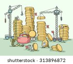 Sketch Of Stack Of Coins With...