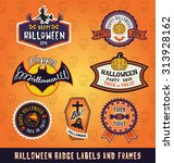 set of halloween badge label... | Shutterstock .eps vector #313928162