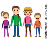 happy family with full... | Shutterstock .eps vector #313942538