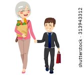 lovely grandmother with grocery ... | Shutterstock .eps vector #313943312