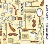 hand drawn barbershop tools... | Shutterstock .eps vector #313971845
