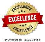 excellence 3d gold badge with... | Shutterstock .eps vector #313985456