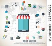 online shopping   smart phone... | Shutterstock .eps vector #313992212
