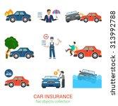 flat style modern car insurance ... | Shutterstock .eps vector #313992788