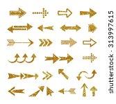 arrow set made of gold glitter... | Shutterstock . vector #313997615