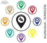 map pointer with man icon.... | Shutterstock .eps vector #314001356