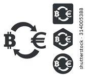 bitcoin euro exchange icon set  ...