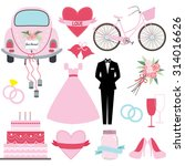 wedding doodles collections.  | Shutterstock .eps vector #314016626