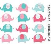 pink ang aqua cute elephant set. | Shutterstock .eps vector #314017052