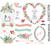 wedding floral  love bird... | Shutterstock .eps vector #314017058