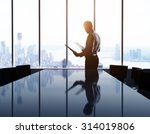 Businessman In Office And City...