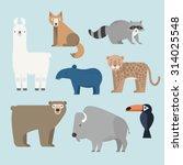 vector set wild animals icons.... | Shutterstock .eps vector #314025548