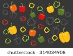 set of bell peppers. vector... | Shutterstock .eps vector #314034908