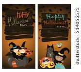 halloween banners set. vector... | Shutterstock .eps vector #314055572
