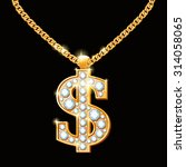 Dollar Sign With Diamonds On...
