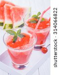 watermelon smoothie on a white... | Shutterstock . vector #314066822