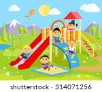 playground with slide and... | Shutterstock .eps vector #314071256