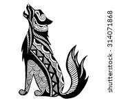 ethnic black wolf silhouette.... | Shutterstock .eps vector #314071868