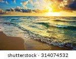 Colorful Sunrise Over Ocean In...