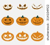 pumpkin with an evil expression ... | Shutterstock .eps vector #314104922