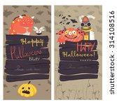 halloween banners set. vector... | Shutterstock .eps vector #314108516