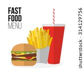 lunch french fries  burger and... | Shutterstock .eps vector #314129756