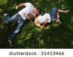 pregnant couple outdoor | Shutterstock . vector #31413466