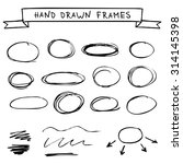 set of hand drawn frames... | Shutterstock .eps vector #314145398