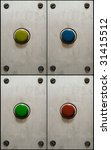 Color set of buttons on grungy aluminum plate - stock photo