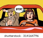 woman driver driving school... | Shutterstock .eps vector #314164796