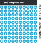 happiness 100 icons universal... | Shutterstock . vector #314173142